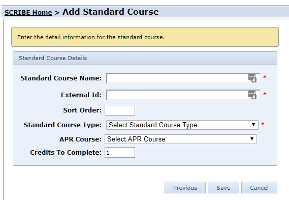Add Custom Standard Course Form