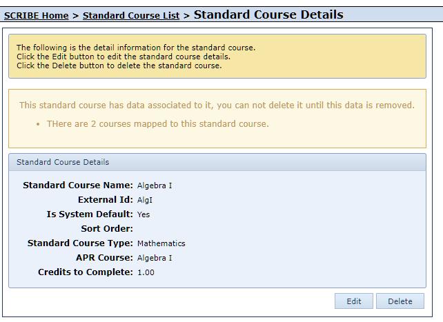 Delete Standard Course Alert