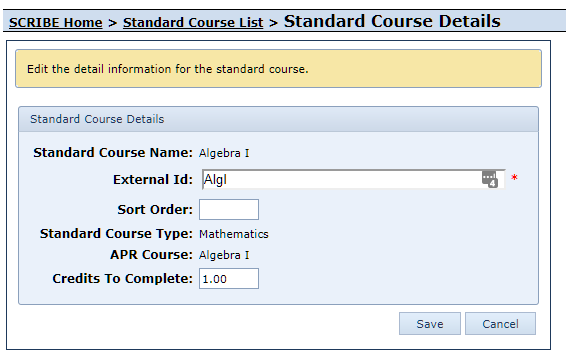 Edit System Default Standard Course Form
