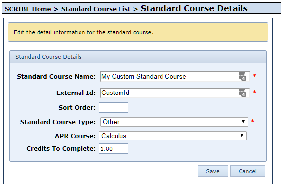 Edit Custom Standard Course Form
