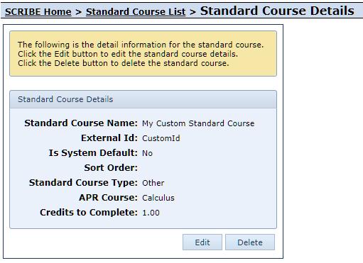 View Standard Course Details