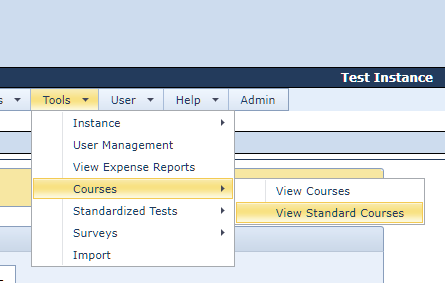 Standard Course Menu